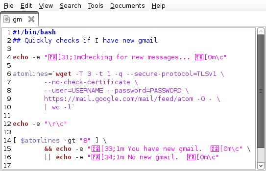 Quickly Check Gmail with BASH « Shell Person